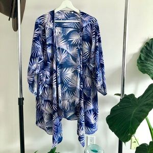 Floral Blue Kimono with Palm Leaf pattern